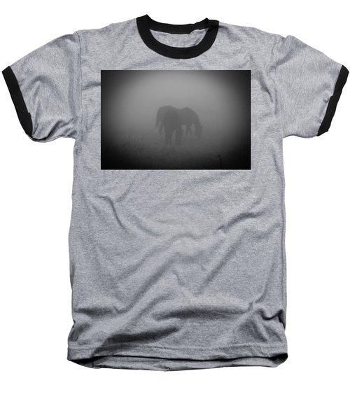 Horses In The Mist. Baseball T-Shirt by Cheryl Baxter