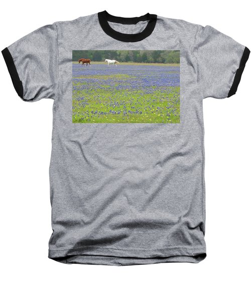 Horses Running In Field Of Bluebonnets Baseball T-Shirt by Connie Fox
