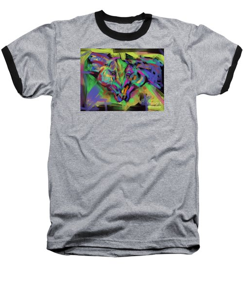 Baseball T-Shirt featuring the painting Horses Together In Colour by Go Van Kampen