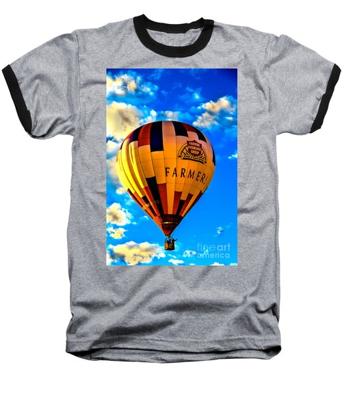 Hot Air Ballon Farmer's Insurance Baseball T-Shirt by Robert Bales