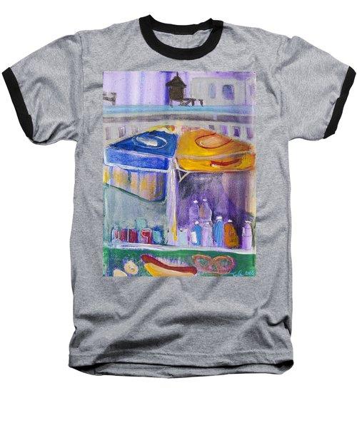 Hot Dogs  Baseball T-Shirt by Leela Payne
