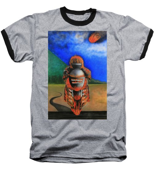 Baseball T-Shirt featuring the painting Hot Moto by Tim Mullaney