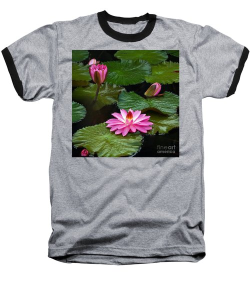 Hot Pink And Green Tropical Waterlilies Baseball T-Shirt