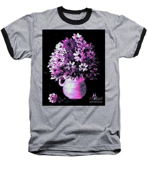 Hot Pink Flowers Baseball T-Shirt