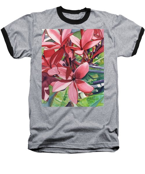 Hot Pink Plumeria Baseball T-Shirt