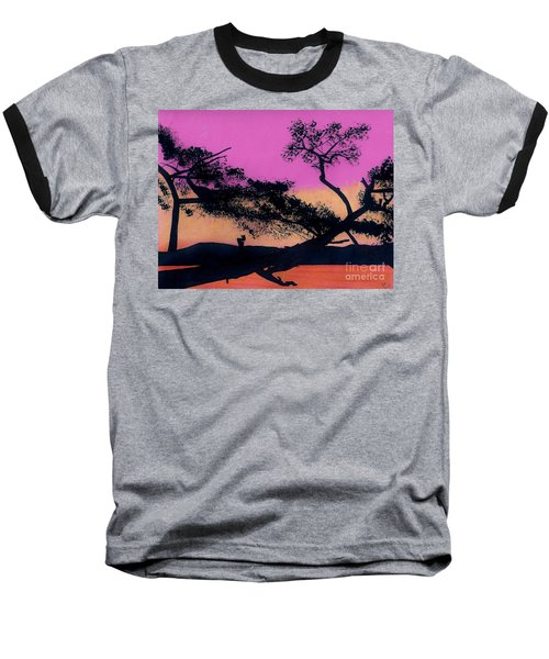 Baseball T-Shirt featuring the drawing Hot Pink Sunset by D Hackett
