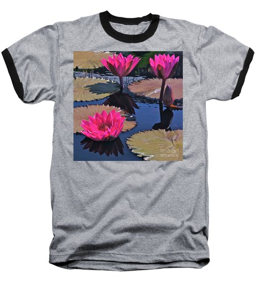 Hot Pink Tropicals Baseball T-Shirt