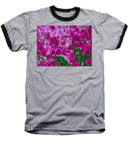 Hot Pink Tulips 3 Baseball T-Shirt by Allen Beatty