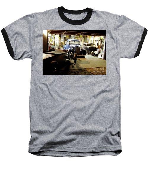 Hot Rod Garage Baseball T-Shirt by Alan Johnson