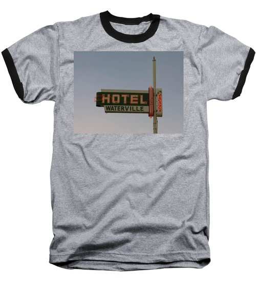 Hotel Waterville Neon Sign Baseball T-Shirt