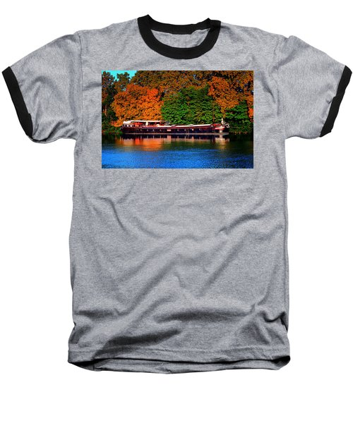 Baseball T-Shirt featuring the photograph House Boat River Barge In France by Tom Prendergast