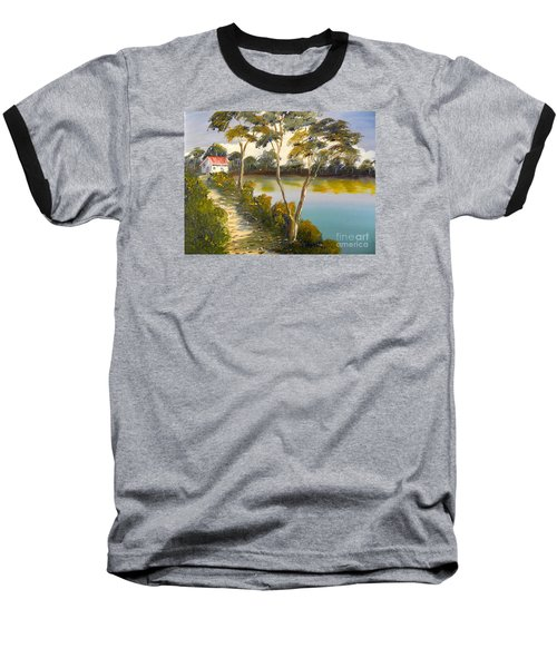 House By The Lake Baseball T-Shirt by Pamela  Meredith