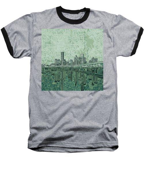 Houston Skyline Abstract 2 Baseball T-Shirt