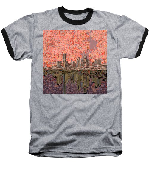 Houston Skyline Abstract 5 Baseball T-Shirt