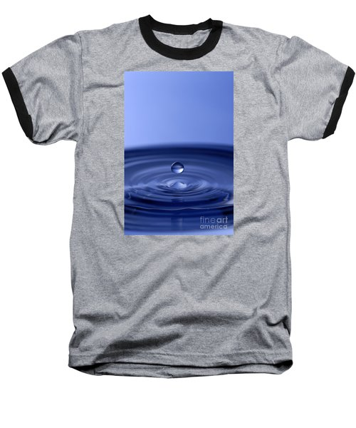 Hovering Blue Water Drop Baseball T-Shirt by Anthony Sacco