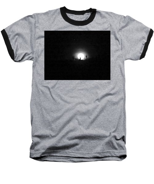 Howling At The Moon Baseball T-Shirt by Anne Mott