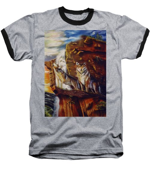 Baseball T-Shirt featuring the painting Howling For The Nightlife  by Thomas J Herring