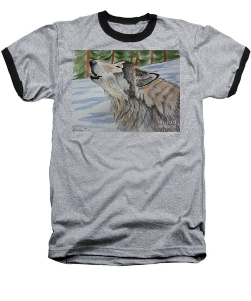 Howling Wolf In Winter Baseball T-Shirt by Brenda Brown