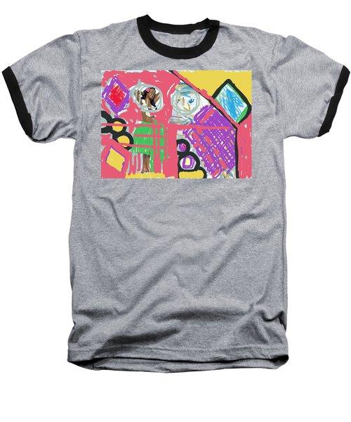 Hula Girl Under Paint Baseball T-Shirt