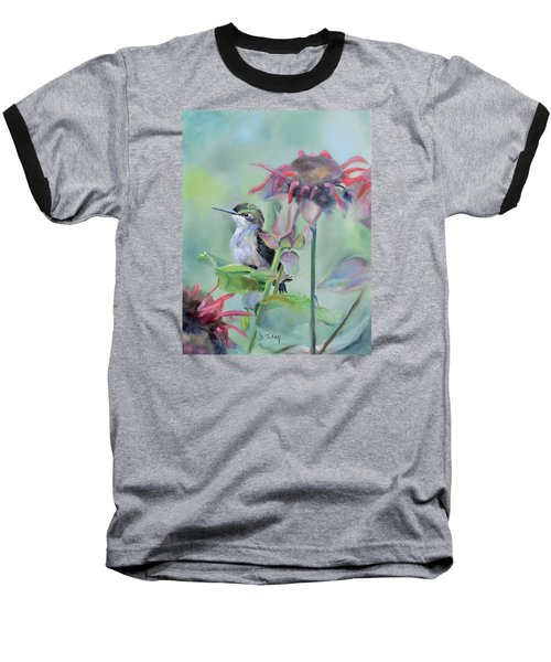 Hummingbird And Coneflowers Baseball T-Shirt