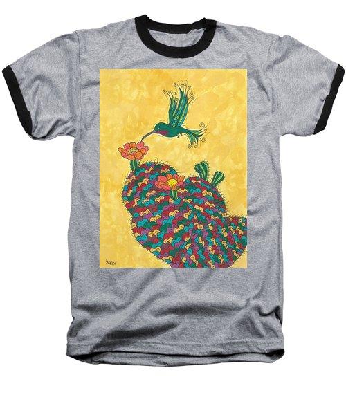 Hummingbird And Prickly Pear Baseball T-Shirt