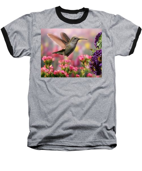 Hummingbird In Colorful Garden Baseball T-Shirt by William Lee