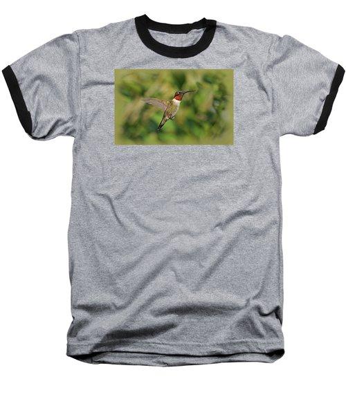 Hummingbird In Flight Baseball T-Shirt by Sandy Keeton