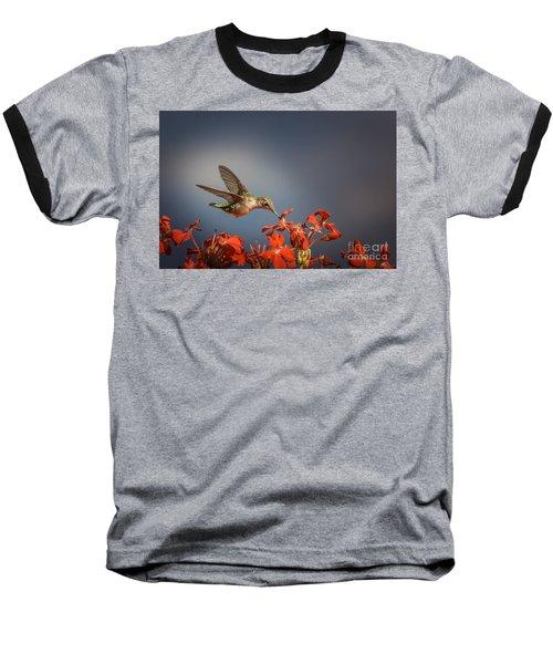 Hummingbird Or My Summer Visitor Baseball T-Shirt by Jola Martysz