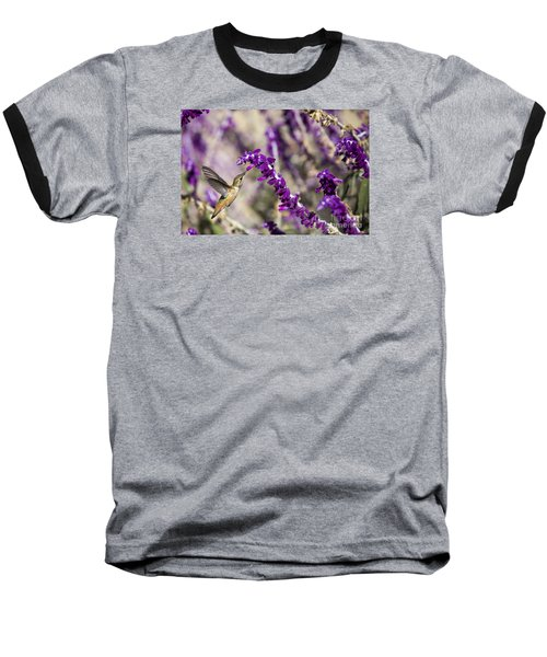 Baseball T-Shirt featuring the photograph Hummingbird Collecting Nectar by David Millenheft