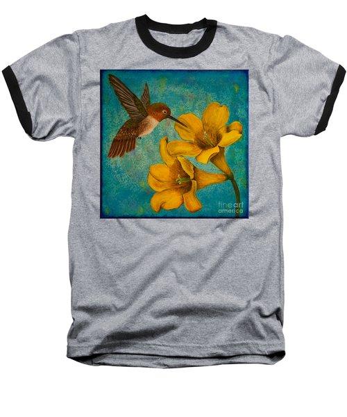 Hummingbird With Yellow Jasmine Baseball T-Shirt