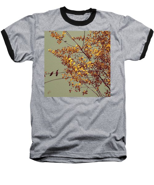 Hummingbirds On Yellow Tree Baseball T-Shirt