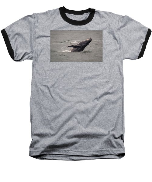 Baseball T-Shirt featuring the photograph Humpback Whale Breaching by Janis Knight
