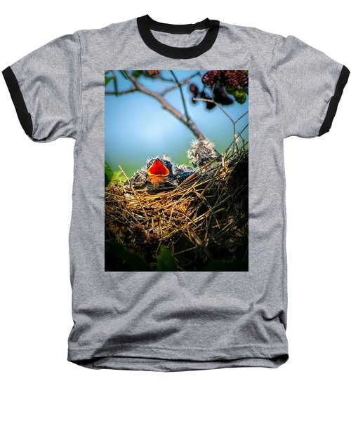 Hungry Tree Swallow Fledgling In Nest Baseball T-Shirt