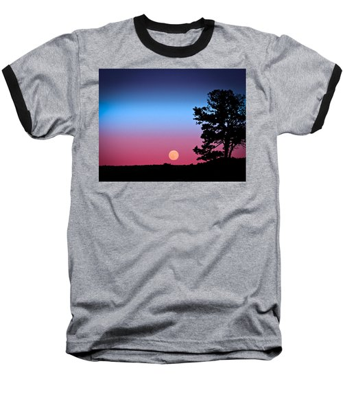 Hunter's Moonrise In Eastern Arizona Baseball T-Shirt by John Haldane