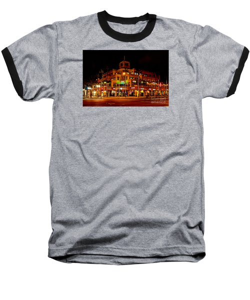 Huntington Beach Downtown Nightside 1 Baseball T-Shirt by Jim Carrell