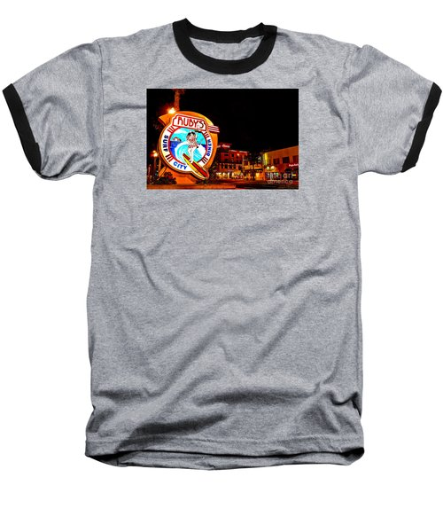 Huntington Beach Downtown Nightside 2 Baseball T-Shirt by Jim Carrell