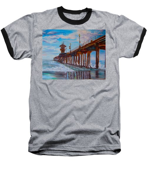 Huntington Beach Pier 2 Baseball T-Shirt