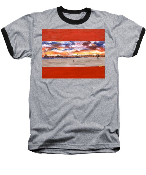 Huntington Beach Pier 3 Baseball T-Shirt
