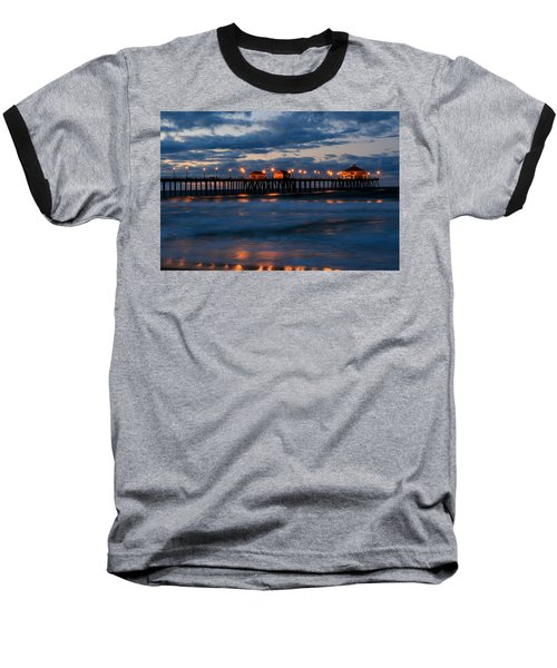 Huntington Beach Pier Lights  Baseball T-Shirt