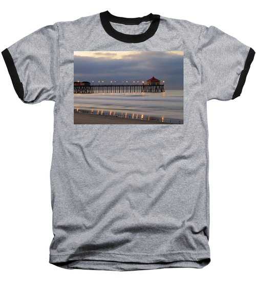 Huntington Beach Pier Morning Lights Baseball T-Shirt