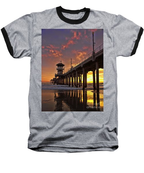 Baseball T-Shirt featuring the photograph Huntington Beach Pier by Peggy Hughes