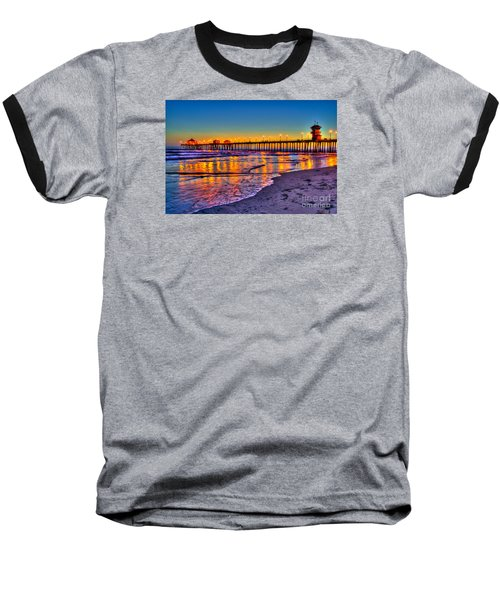Huntington Beach Pier Sundown Baseball T-Shirt by Jim Carrell