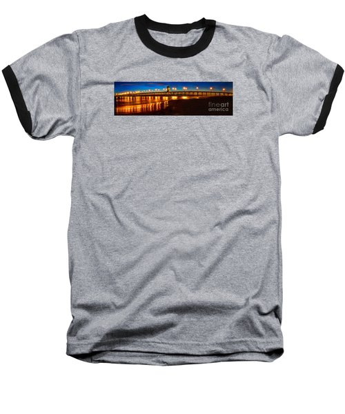Huntington Beach Pier Twilight Panoramic Baseball T-Shirt by Jim Carrell