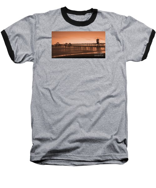 Huntington Beach Pier - Twilight Sepia Baseball T-Shirt by Jim Carrell