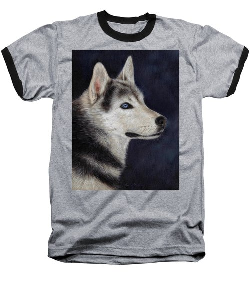 Husky Portrait Painting Baseball T-Shirt