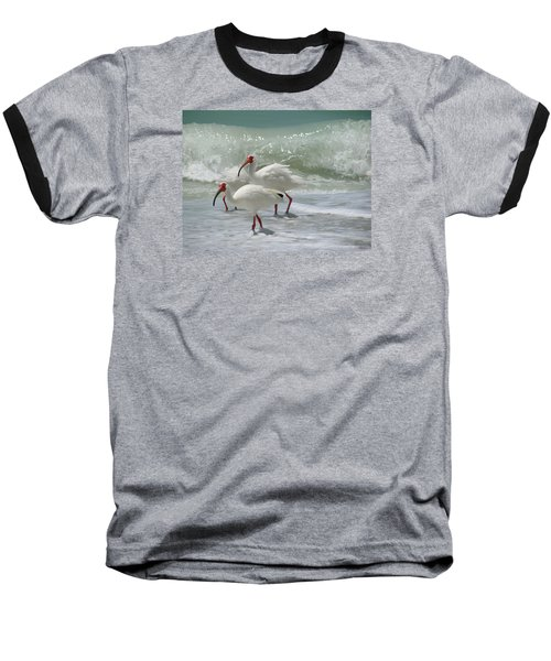 Baseball T-Shirt featuring the pastel Ibis Pair by Melinda Saminski