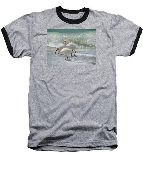 Ibis Pair Baseball T-Shirt by Melinda Saminski