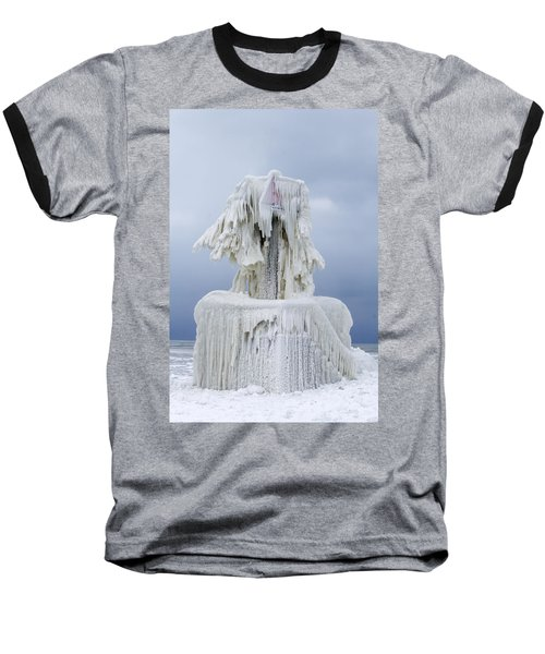 Ice Covered Warning Tower Along Lake Michigan In St. Joseph Michigan Baseball T-Shirt