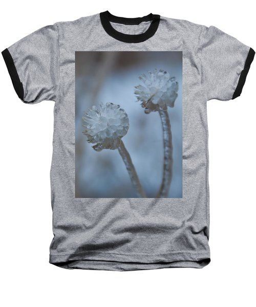 Ice-covered Winter Flowers With Blue Background Baseball T-Shirt