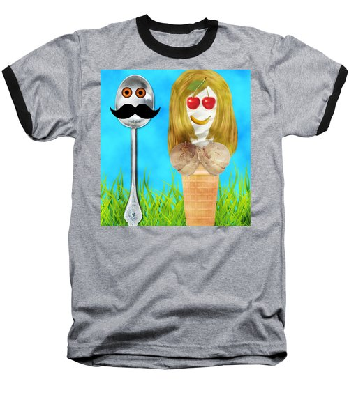 Baseball T-Shirt featuring the digital art Ice Cream Couple by Ally  White